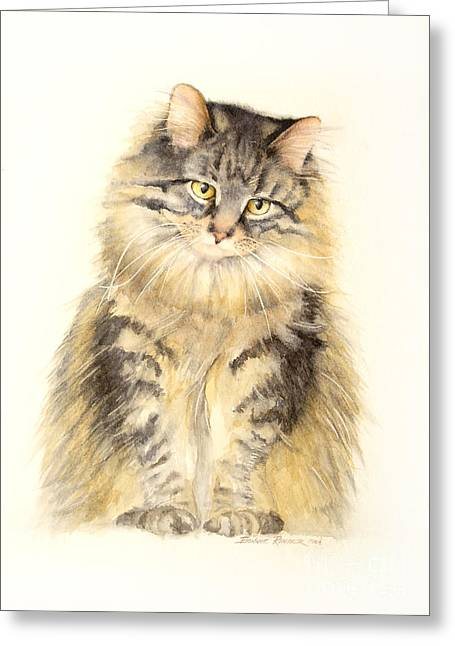 Maine Greeting Cards - Maine Coon Cat Greeting Card by Bonnie Rinier