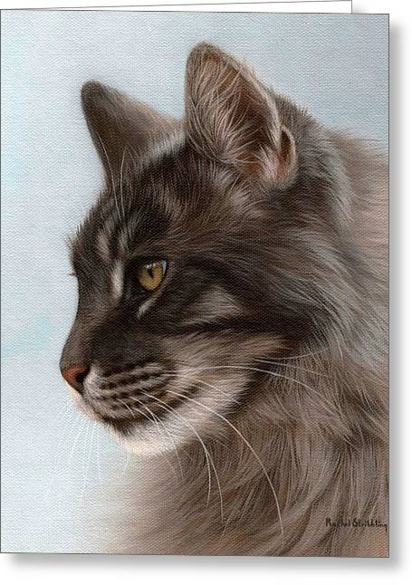Feline Art Greeting Cards - Maine Coon Painting Greeting Card by Rachel Stribbling