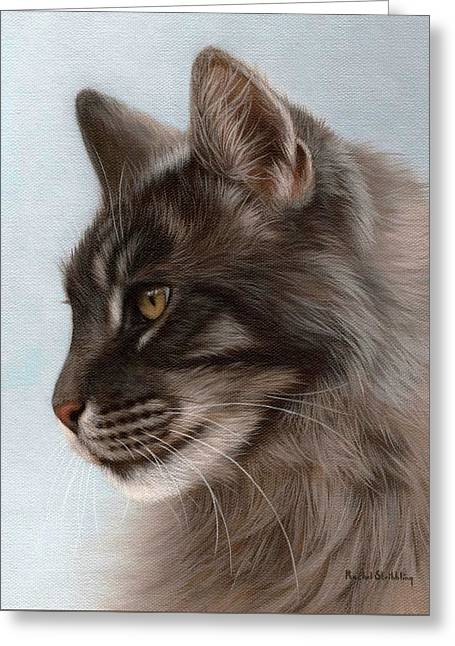 Domestic Pets Greeting Cards - Maine Coon Painting Greeting Card by Rachel Stribbling