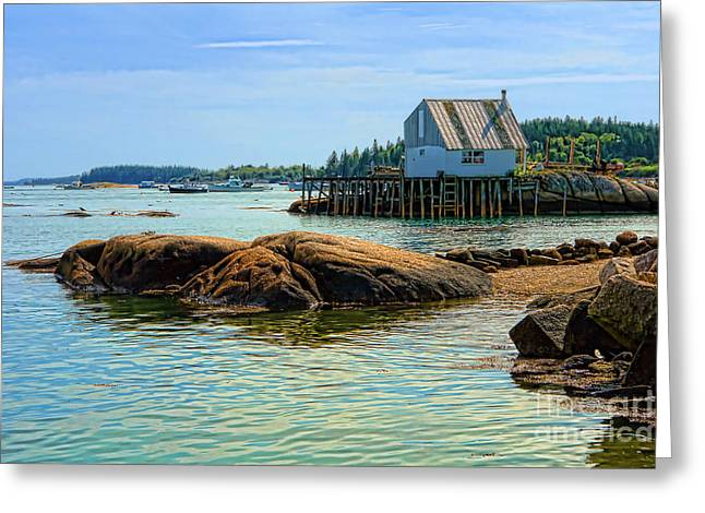 Maine Coast Greeting Cards - Maine Fishing Port Greeting Card by Olivier Le Queinec