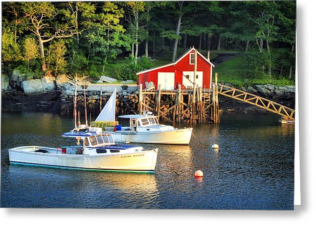 Boats At Dock Greeting Cards - Maine harbor at dusk Greeting Card by Carolyn Derstine