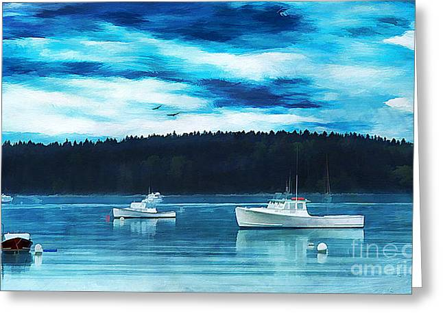 Maine Harbor Greeting Card by Darren Fisher