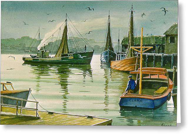 Maine Harbor Greeting Card by Paul Krapf
