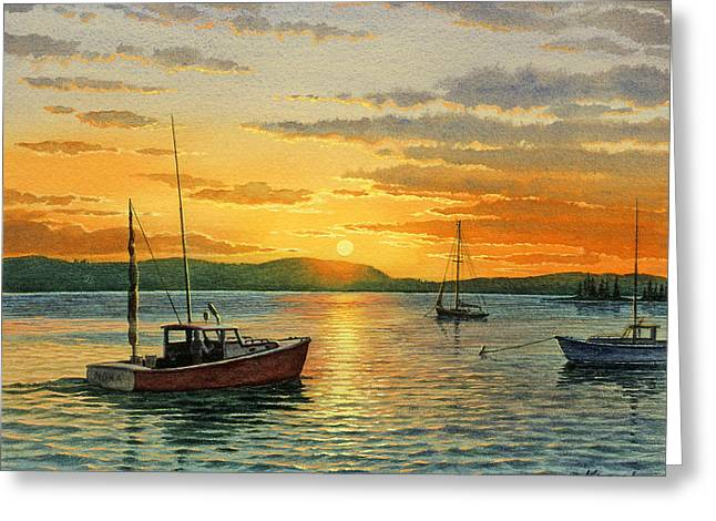 Sunset Seascape Paintings Greeting Cards - Maine Harbor Sunset Greeting Card by Paul Krapf