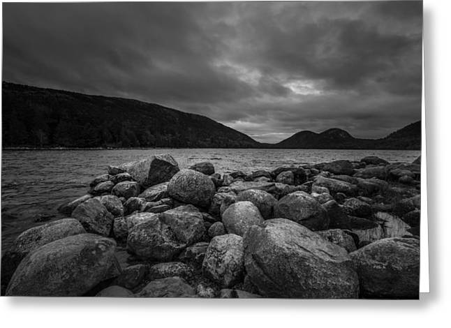 Jordan Pond Greeting Cards - Maine in monochrome Greeting Card by Chris Fletcher