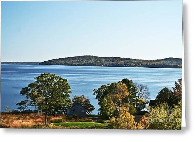 Maine Shore Greeting Cards - Maine Lake in the Fall Greeting Card by Elvis Vaughn
