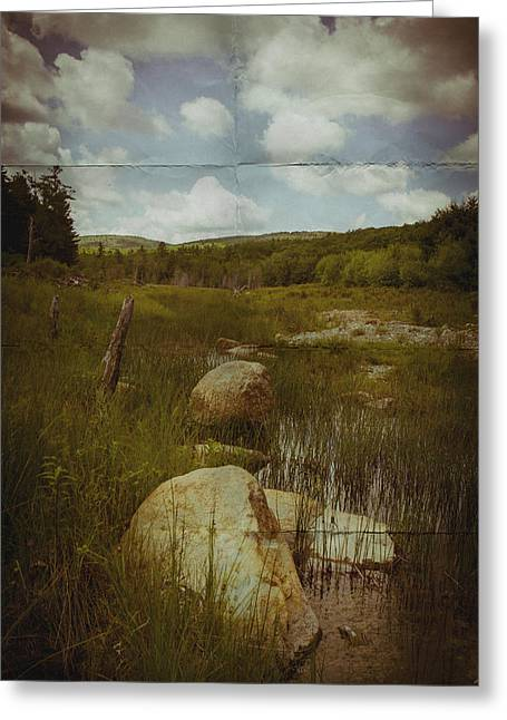 Rural Maine Roads Photographs Greeting Cards - Maine Landscape Acadia National Park clouds Greeting Card by Andy Gimino