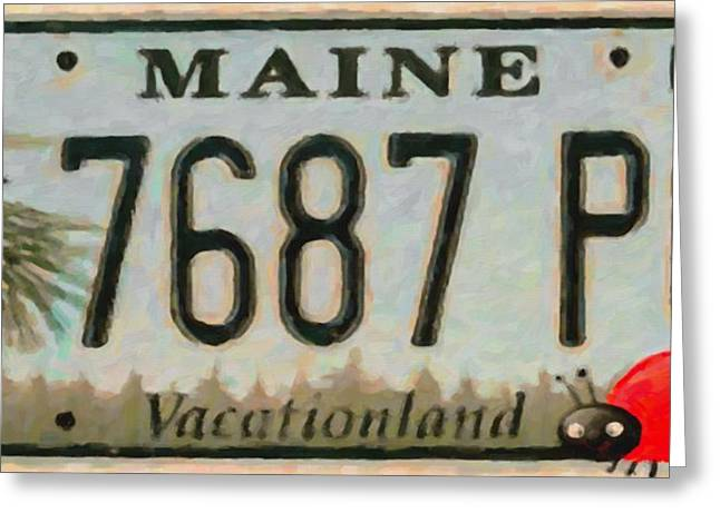 Vacationland Greeting Cards - Maine License Plate Greeting Card by Lanjee Chee