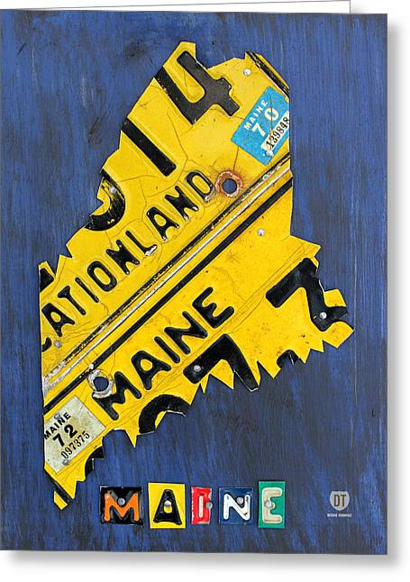 Maine Greeting Cards - Maine License Plate Map Vintage Vacationland Motto Greeting Card by Design Turnpike