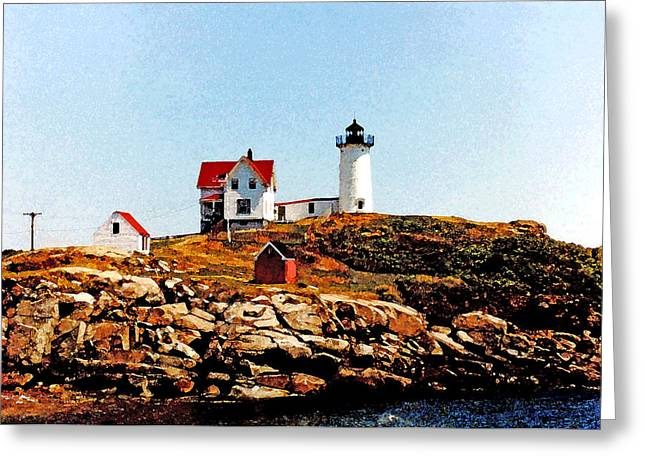 Maine Lighthouses Pyrography Greeting Cards - Nubble Lighthouse Greeting Card by Don Allen