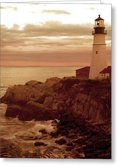 Maine Lighthouses Greeting Cards - Maine Lighthouse Greeting Card by Ellen Berrahmoun