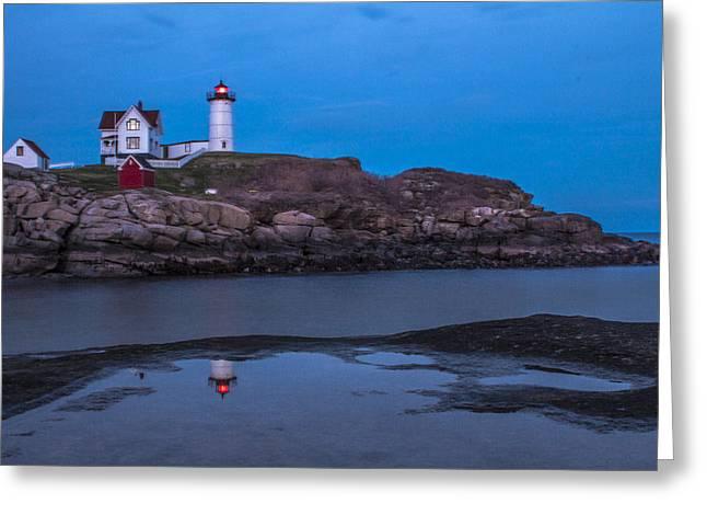 Maine Lighthouses Greeting Cards - Cape Neddick Maine Lighthouse  Greeting Card by John McGraw