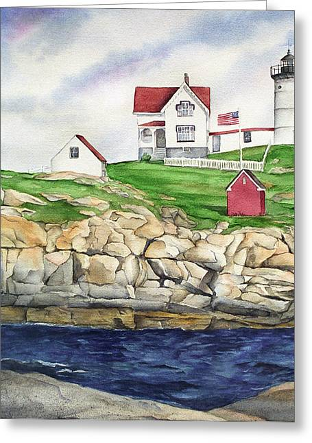 York Beach Paintings Greeting Cards - Maine Lighthouse Watercolor Greeting Card by Michelle Wiarda