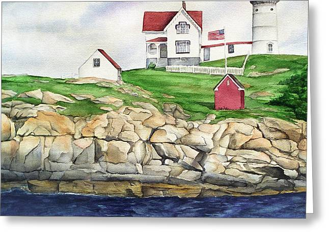 Maine Lighthouse Watercolor Greeting Card by Michelle Wiarda