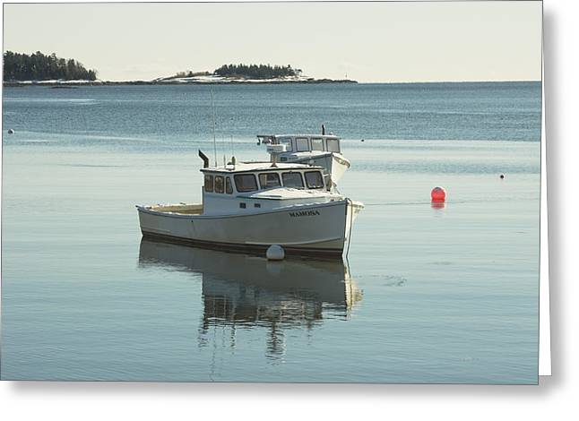Maine Lobster Boats In Winter Greeting Card by Keith Webber Jr