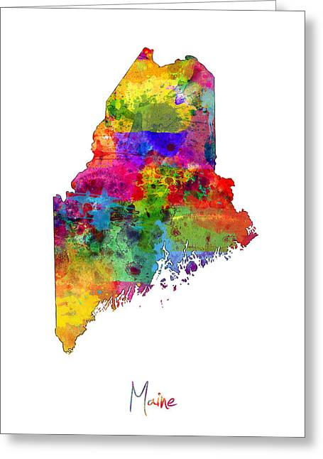 Portland Greeting Cards - Maine Map Greeting Card by Michael Tompsett