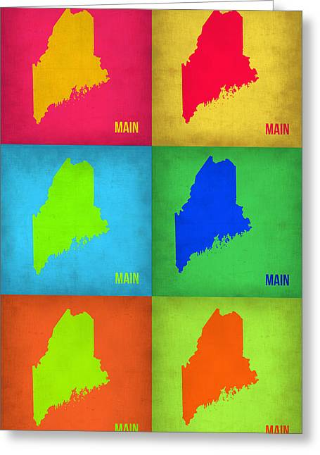 Maine Greeting Cards - Maine Pop Art Map 1 Greeting Card by Naxart Studio