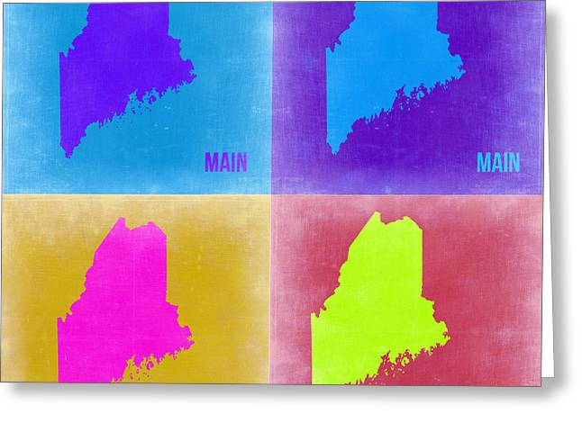 Maine Greeting Cards - Maine Pop Art Map 2 Greeting Card by Naxart Studio