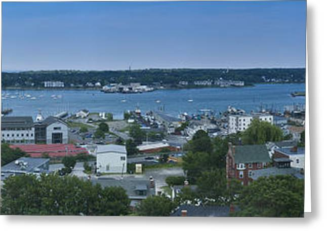 New England Ocean Greeting Cards - Maine Portland Casco Bay Summer Panorama Greeting Card by Andy Gimino