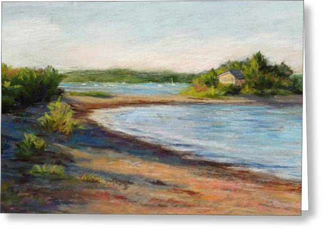 Maine Beach Paintings Greeting Cards - Maine Quiet Bay Greeting Card by Vikki Bouffard