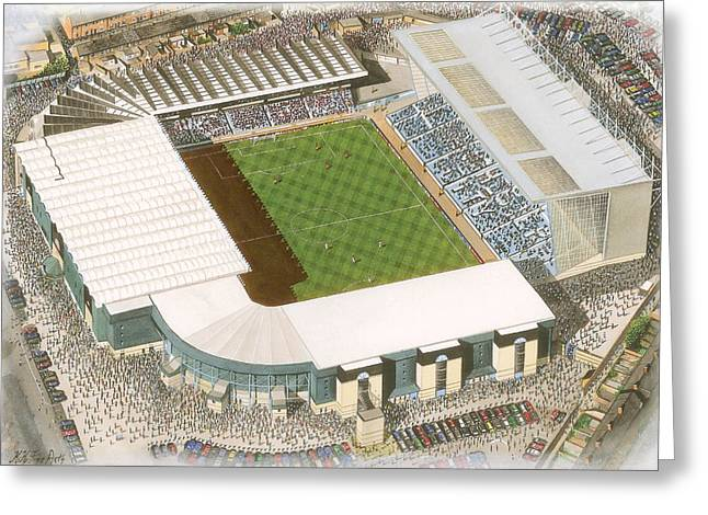 Stadia Greeting Cards - Maine Road - Manchester City Greeting Card by Kevin Fletcher