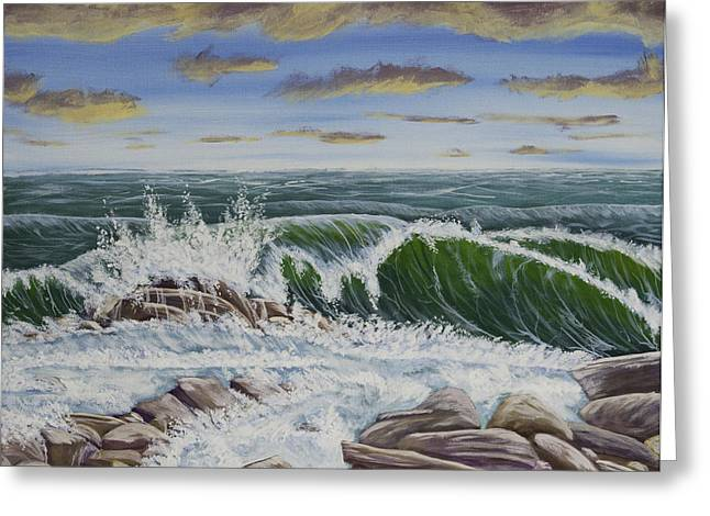 Coastal Maine Paintings Greeting Cards - Crashing Waves At Pemaquid Point Maine Greeting Card by Keith Webber Jr