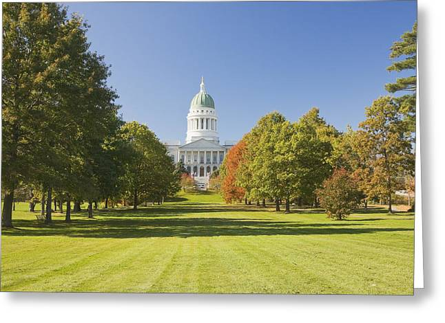 Historic England Greeting Cards - Maine State Capitol Building and Park In Augusta Greeting Card by Keith Webber Jr