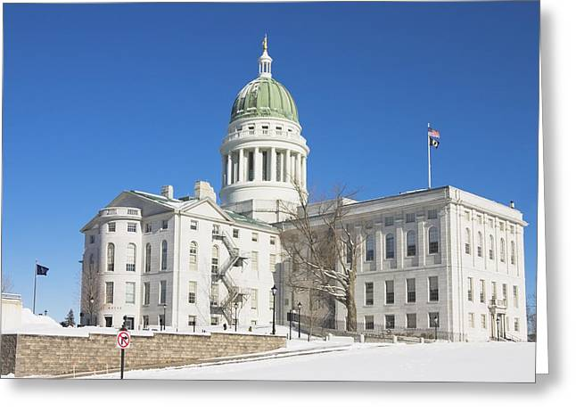 State Capitol Greeting Cards - Maine State Capitol Building In Winter Augusta Greeting Card by Keith Webber Jr