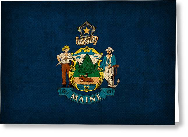 Maine Greeting Cards - Maine State Flag Art on Worn Canvas Greeting Card by Design Turnpike