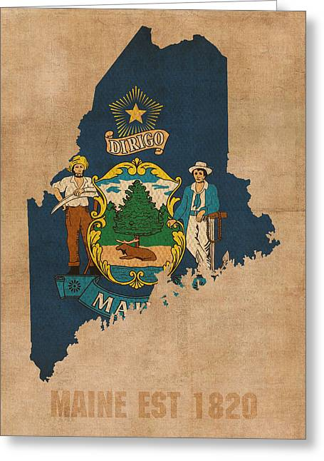 Dated Greeting Cards - Maine State Flag Map Outline With Founding Date On Worn Parchment Background Greeting Card by Design Turnpike