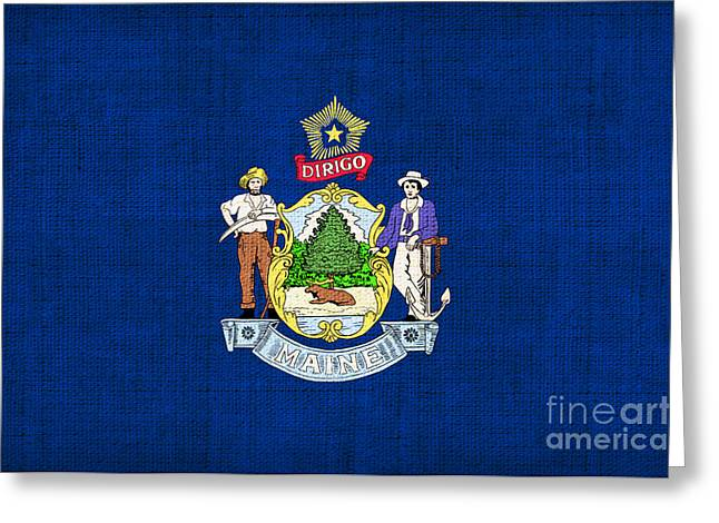 Best Sellers Greeting Cards - Maine State Flag Greeting Card by Pixel Chimp