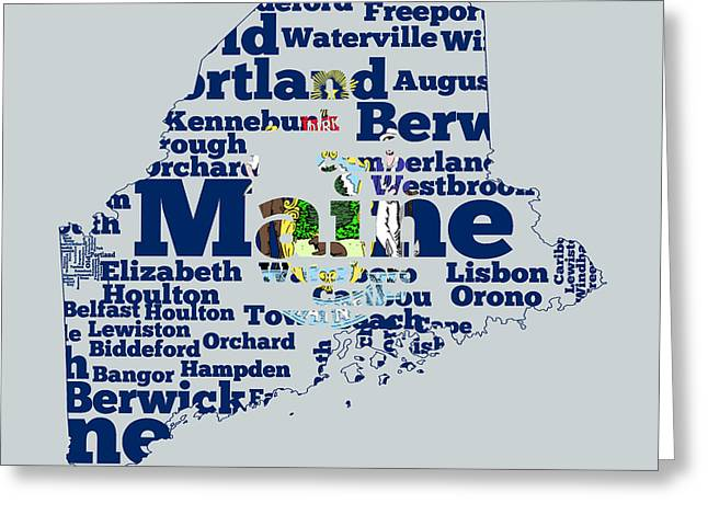 Vacationland Greeting Cards - Maine State Flag Word Cloud Greeting Card by Brian Reaves