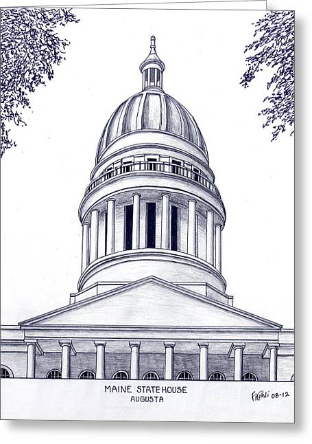 Pen And Ink Framed Prints Greeting Cards - Maine Statehouse Greeting Card by Frederic Kohli