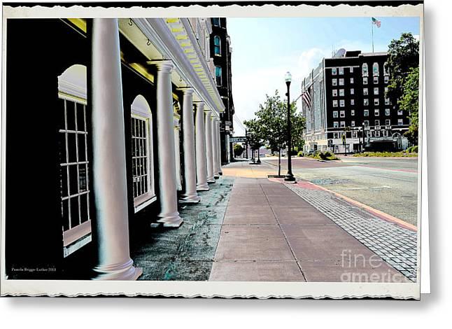 Main Street Greeting Cards - City  - Maine Street Pillars - Luther Fine Art Greeting Card by Luther   Fine Art