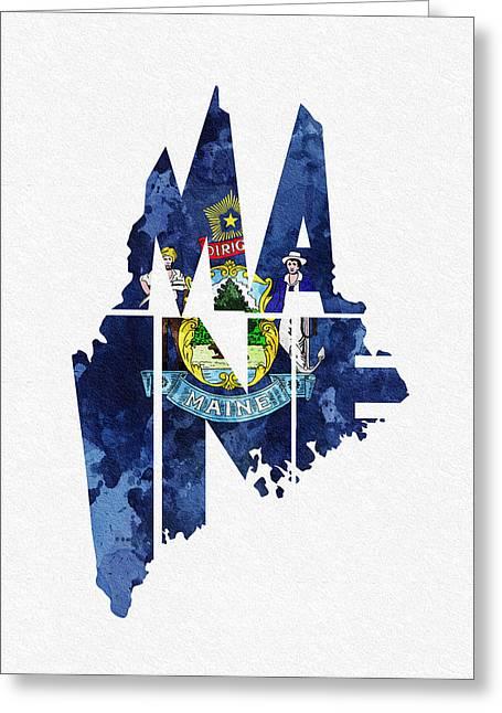 Maine Typographic Map Flag Greeting Card by Ayse Deniz