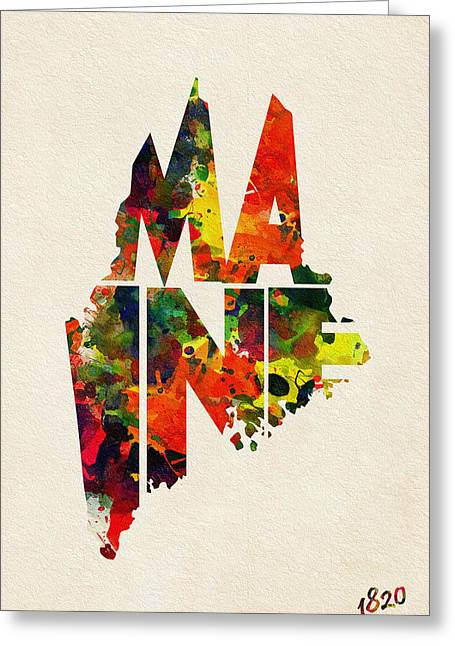 Mother Gift Greeting Cards - Maine Typographic Watercolor Map Greeting Card by Ayse Deniz