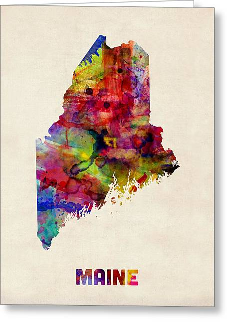 Cartography Digital Art Greeting Cards - Maine Watercolor Map Greeting Card by Michael Tompsett