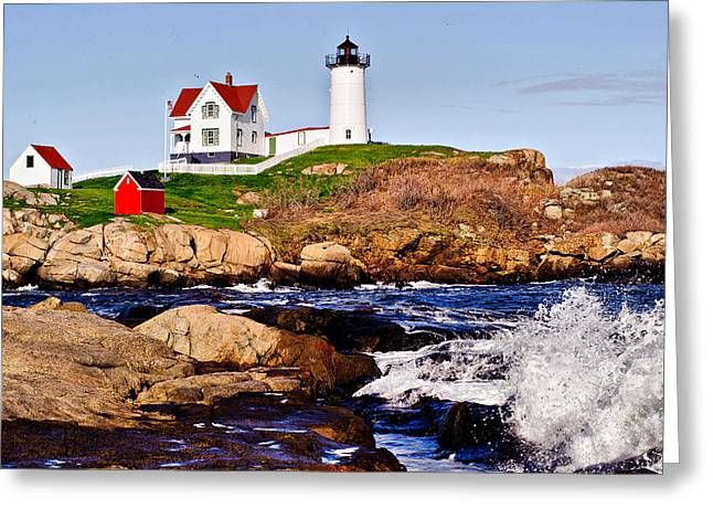 Cape Neddick Greeting Cards - Maines Nubble Light Greeting Card by Mitchell R Grosky
