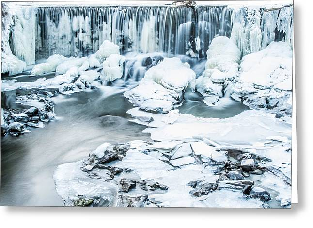 Winter In Maine Greeting Cards - Maines Winter Wonderland Tidal Waterfall Greeting Card by Stroudwater Falls Photography
