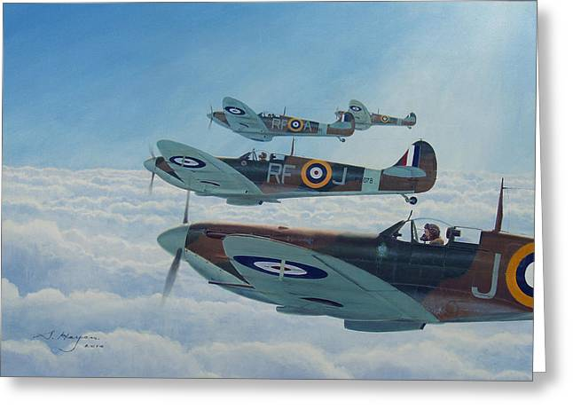 Spitfire Greeting Cards - Maintain Angels Two-four Greeting Card by Steven Heyen