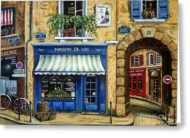 Paris Shops Greeting Cards - Maison De Vin Greeting Card by Marilyn Dunlap