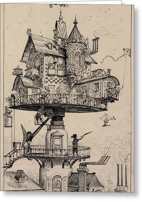 Pen And Ink Drawing Photographs Greeting Cards - Maison Tournante Arienne 1883 Greeting Card by Daniel Hagerman