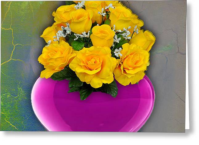 Heart Greeting Cards - Majenta Heart Vase with Yellow Roses Greeting Card by Marvin Blaine