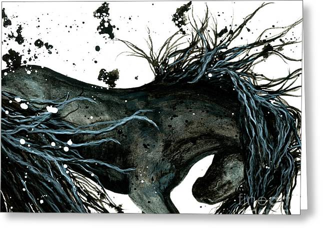 Friesian Greeting Cards - Majestic 105 Abstract Horse Greeting Card by AmyLyn Bihrle