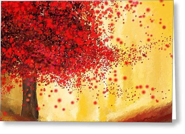 Red Art Greeting Cards - Majestic Autumn - Impressionist Painting Greeting Card by Lourry Legarde