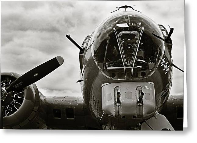 Ww Ii Greeting Cards - Majestic B17 Bomber from WW II Greeting Card by M K  Miller
