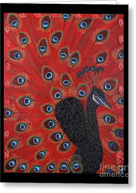 Block Printing Greeting Cards - Majestic Blue Peacock Shimmering Against a Fiery Red Sky Greeting Card by Renu Anne