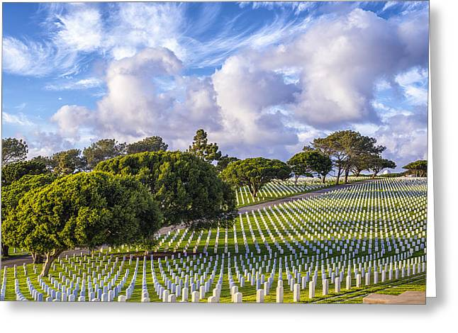 National Cemetery Greeting Cards - Majestic Clouds Greeting Card by Joseph S Giacalone