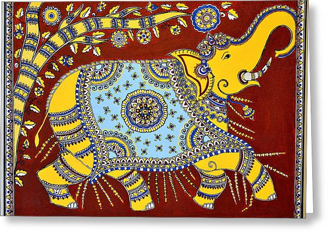 Hand Made Paintings Greeting Cards - Majestic Greeting Card by Deepti Mittal