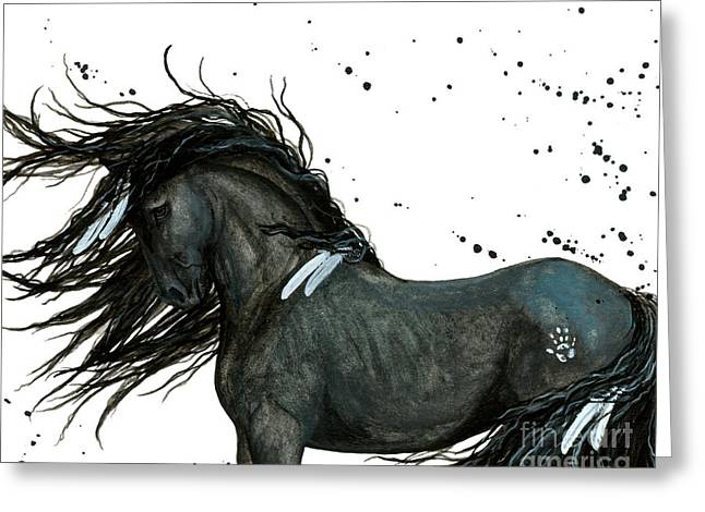 Horses Paintings Greeting Cards - Majestic Friesian 112 Greeting Card by AmyLyn Bihrle